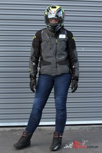 Macna Jenny Jeans, Equator Jacket, Moon Gloves, AGV K-3 SV helmet and TCX Rush Boots