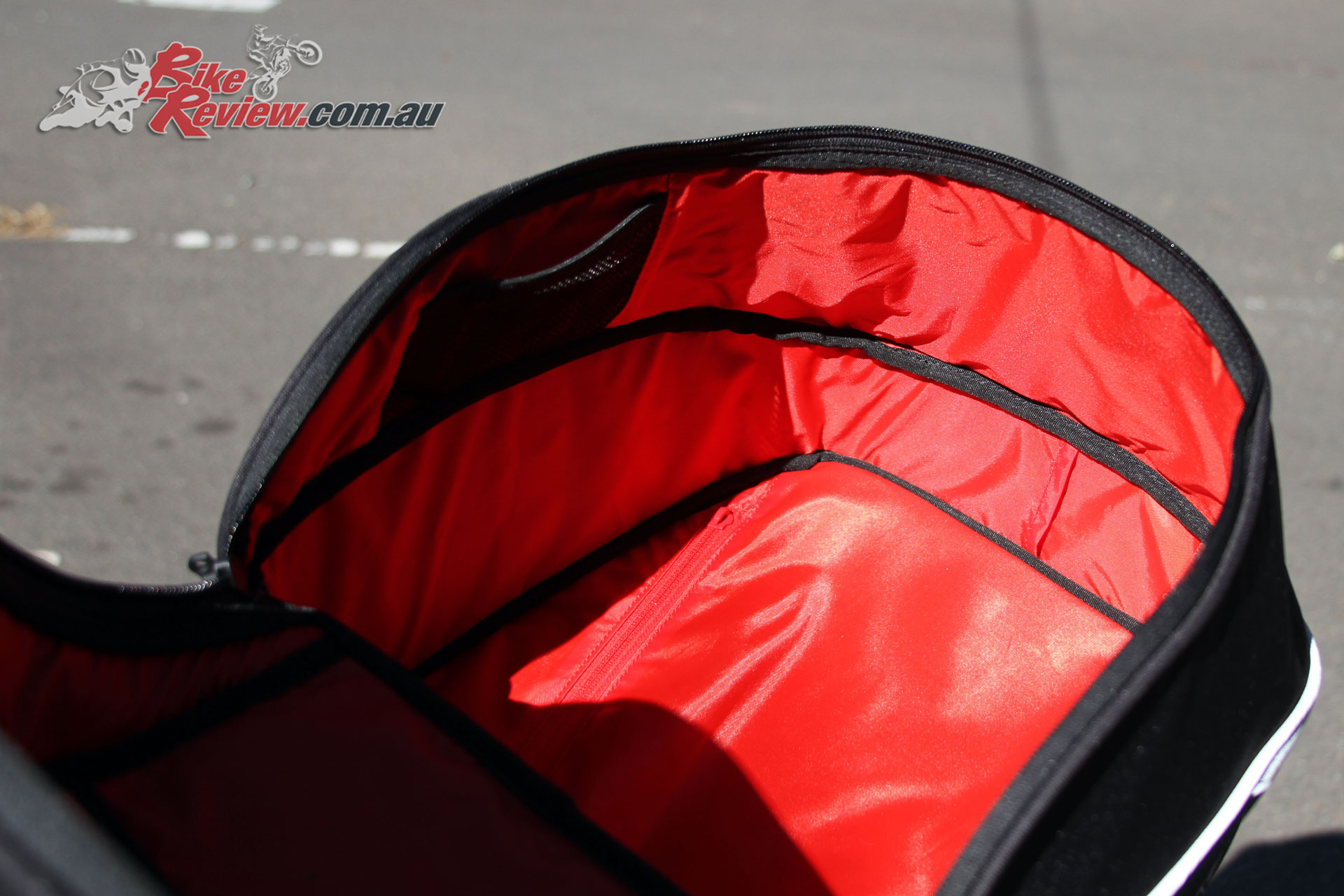 Internal red lining is an eye catching feature on the EVO-22
