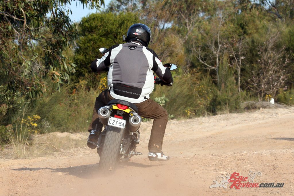 Off road the Scrambler 1100 is a blast, it loves the smooth dirt roads.