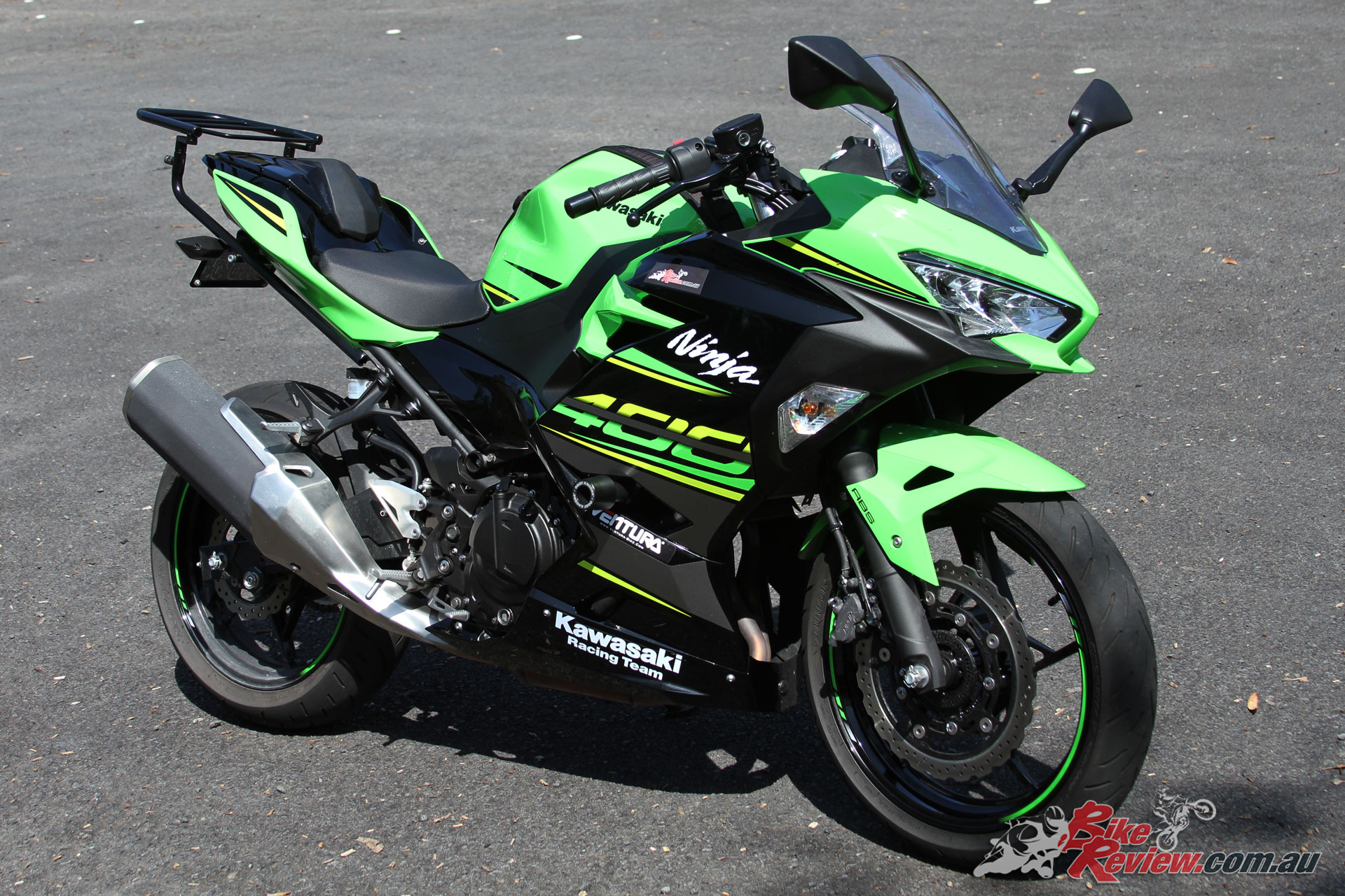 Out Ninja 400 with the genuine Kawasaki seat cowl fitted