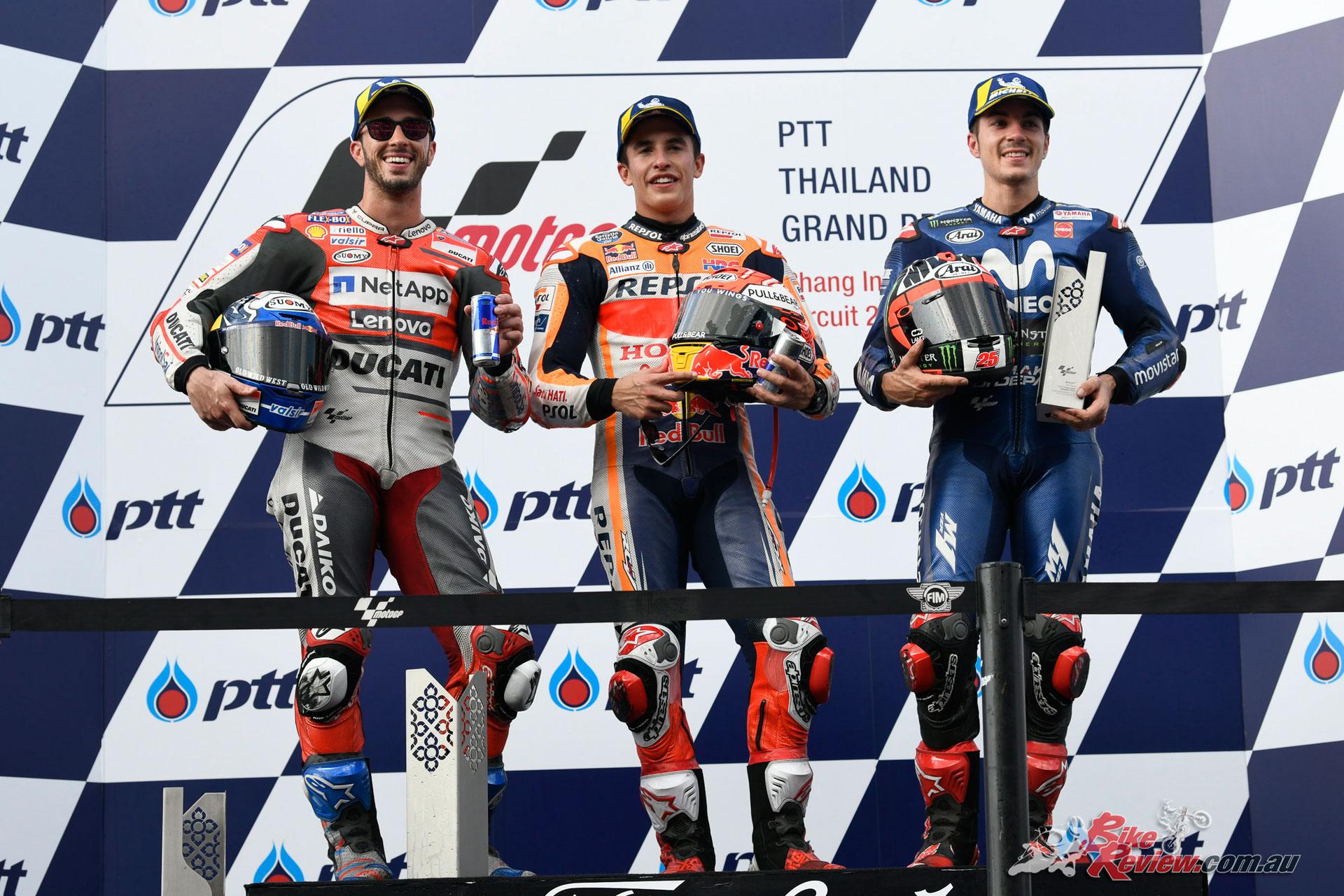 MotoGP Round 15 Thailand - 2018 - MotoGP Podium - Dovi, Marquez, Vinales