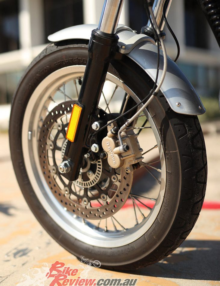 Spoked wheels stand out on the Interceptor 650 and take tubed Pirelli Phantom tyres (18in), with the manufacturer announcing there will be alloy wheels in the future for tubed tyres