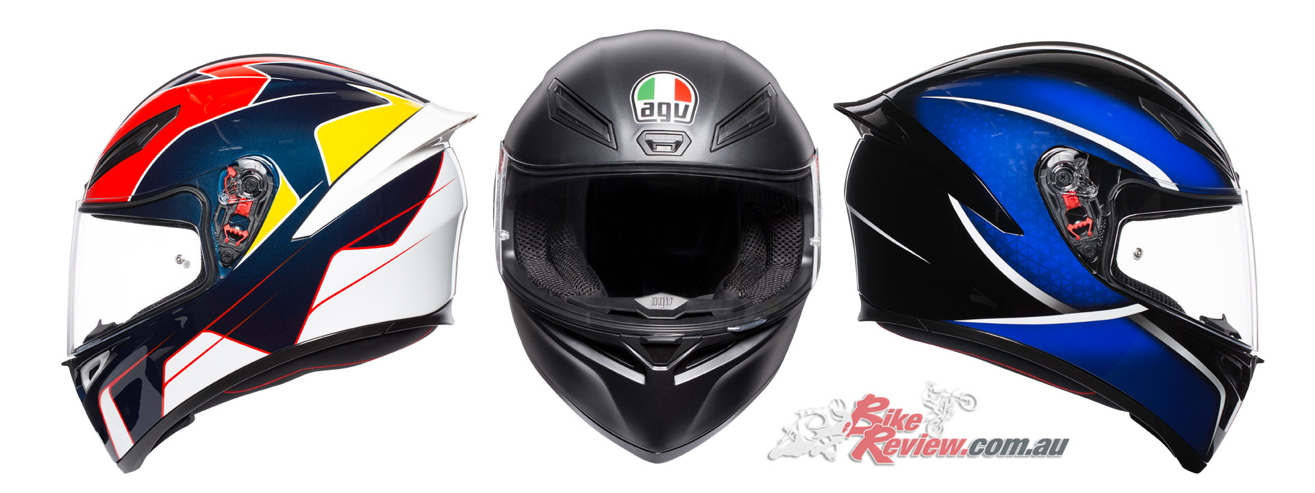 AGV K-1 Helmet - Pitlane, Matt Black, Qualify Black Blue