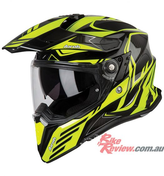 Airoh Commander Adventure Helmet - Carbon Yellow Gloss