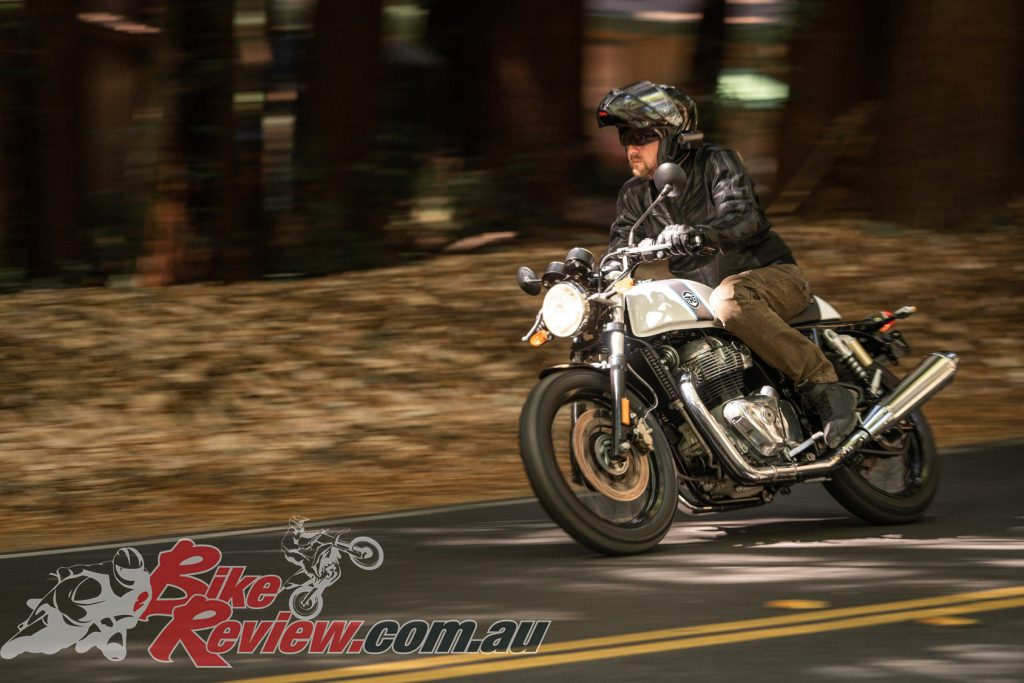 The Continental GT shares an identical tune, engine, gearing, chassis aside from one step more rear prelaod and the cafe racer riding position, however, it is a very different bike to ride than the Interceptor. Both are fun, it's up to what you prefer style and seating-wise... Jeff preferred the GT in the fast open sections and the Interceptor in the tight and twisty roads and around town.