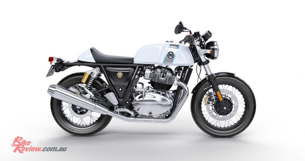 The Continental GT has a thinner, lower seat, narrower tank, rearset footpegs and clip-on handlebars mounted to the top of the forks, giving a sportier cafe racer riding position compared to the Interceptor.