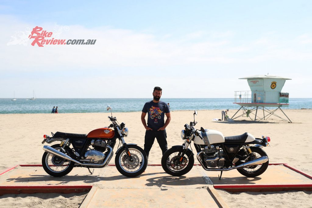 Royal Enfield CEO Sid Lal with both models on the beach at Santa Cruz.