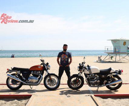 Royal Enfield CEO Sid Lal with both models on the beach at Santa Cruz.