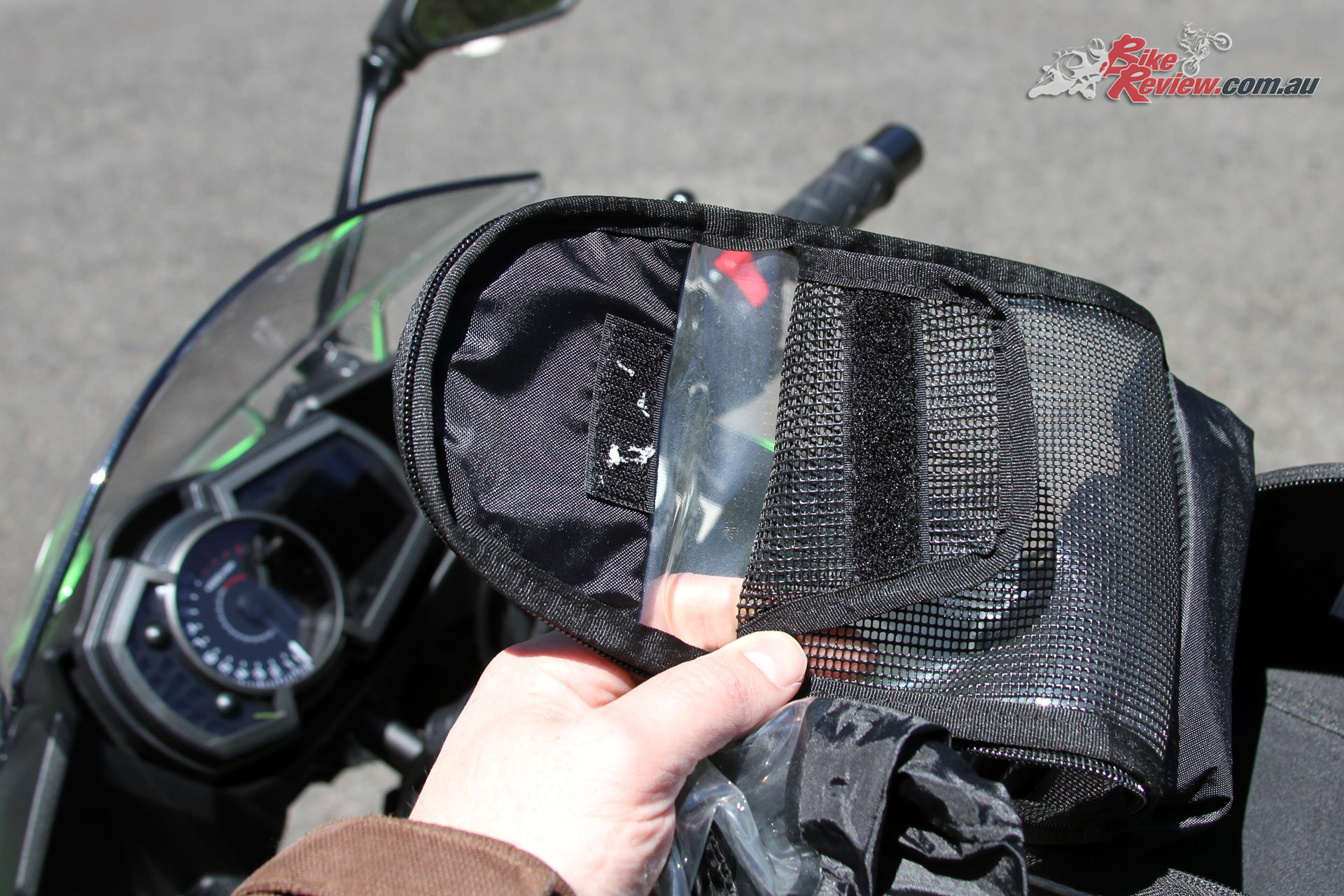 Kawasaki Genuine Tank Bag - Access to the pouch behind the clear screen is ideal for a map, phone or GPS