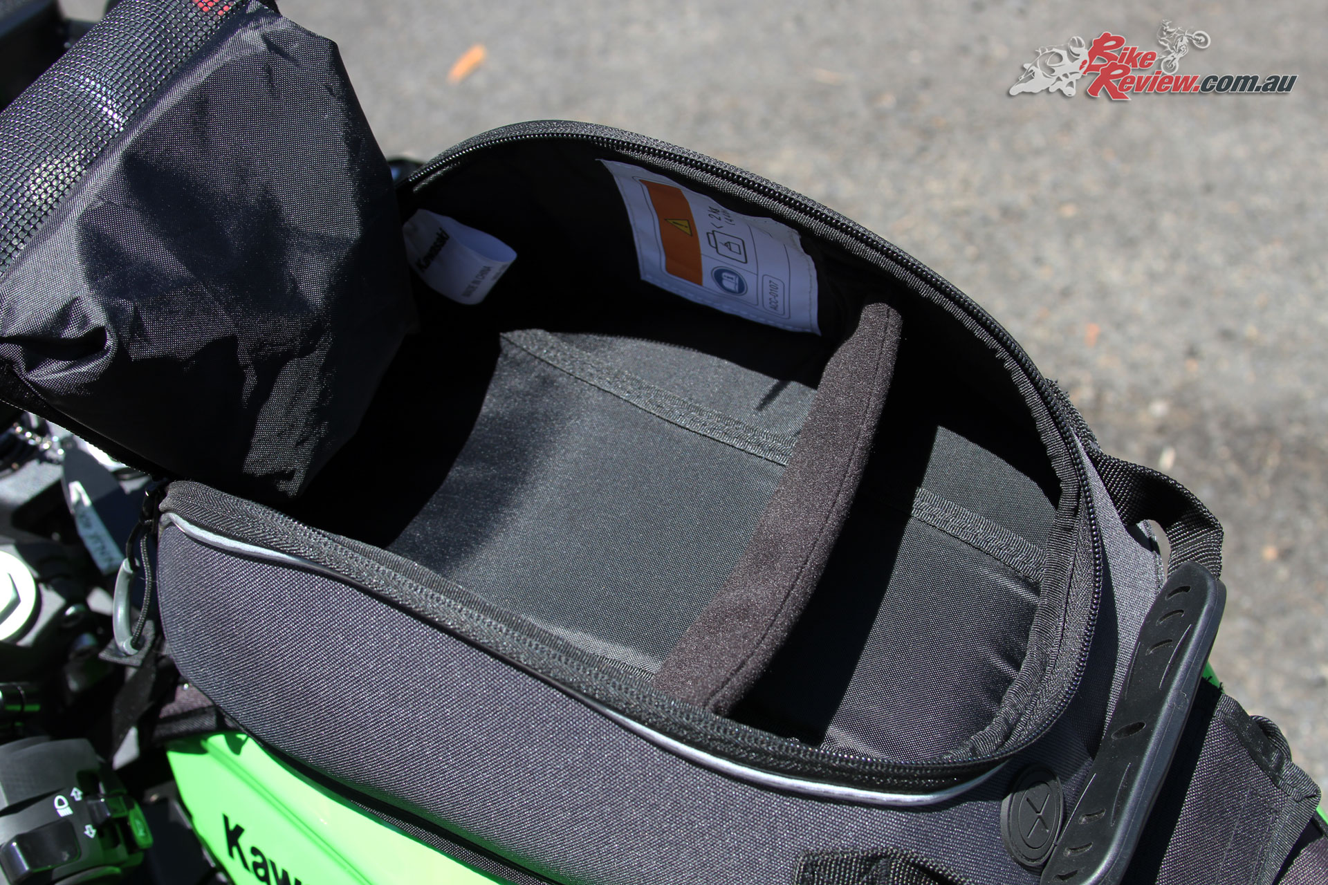 Kawasaki Genuine Tank Bag - A divider splits the main bag section