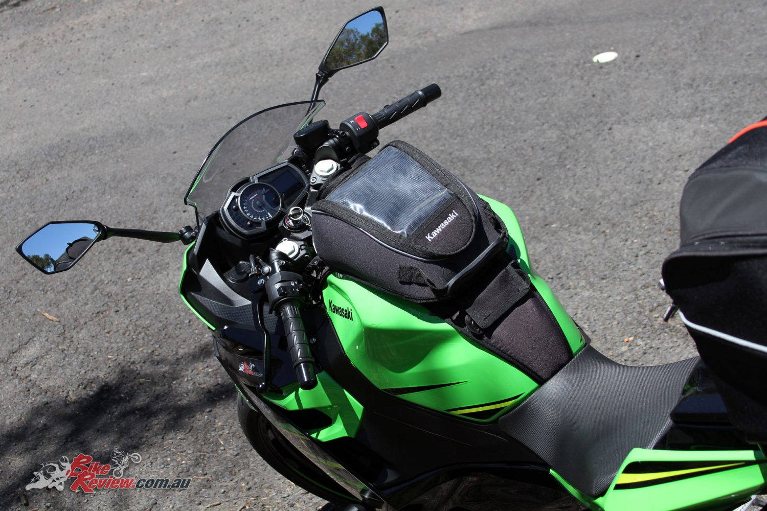 Kawasaki genuine Tank Bag on our Long Term Ninja 400