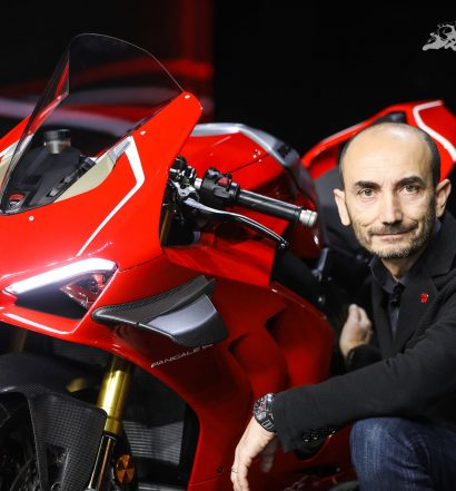 Claudio Domenicali with the 2019 Ducati Panigale V4 R