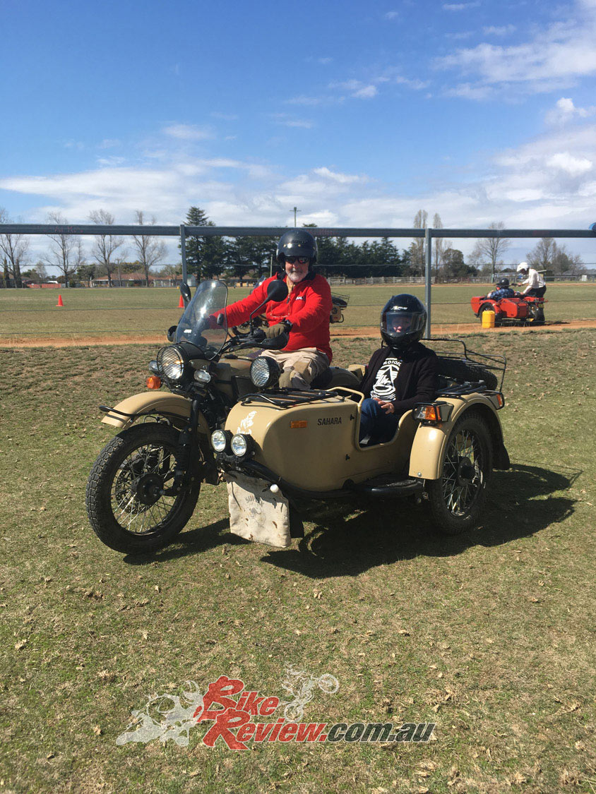 Lots of people enjoyed experiencing a sidecar for the first time at the Uralla Test Day.