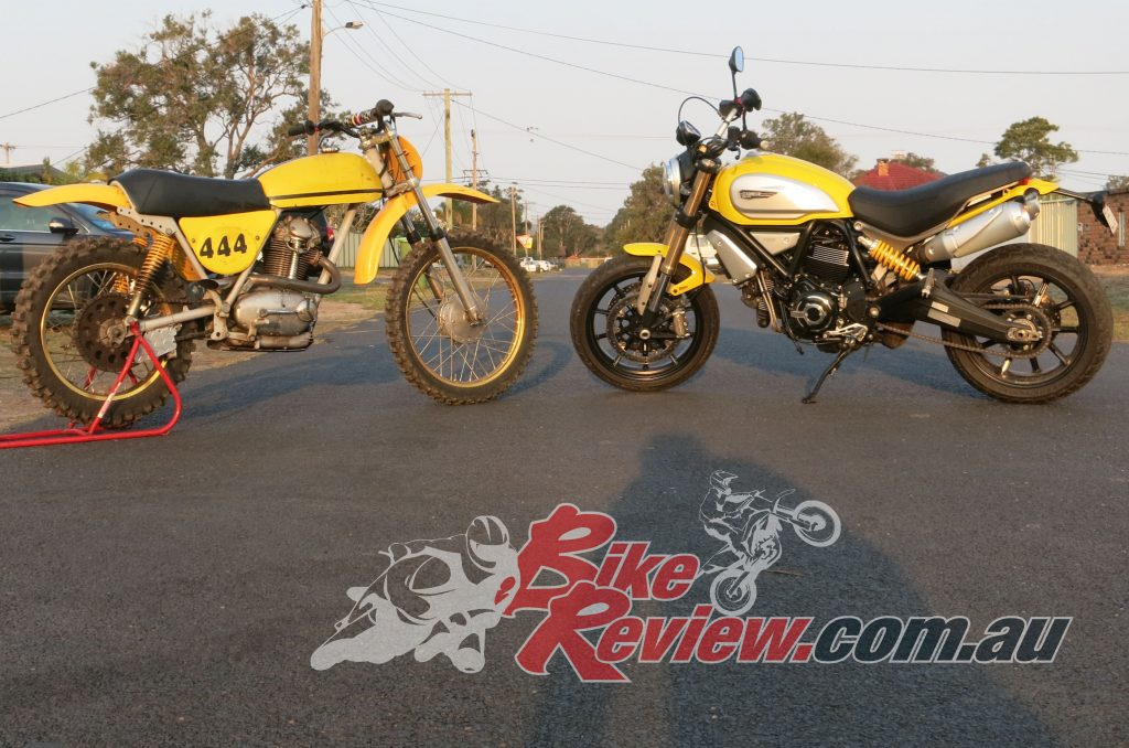 The original 1969 Scrambler and our press bike together...