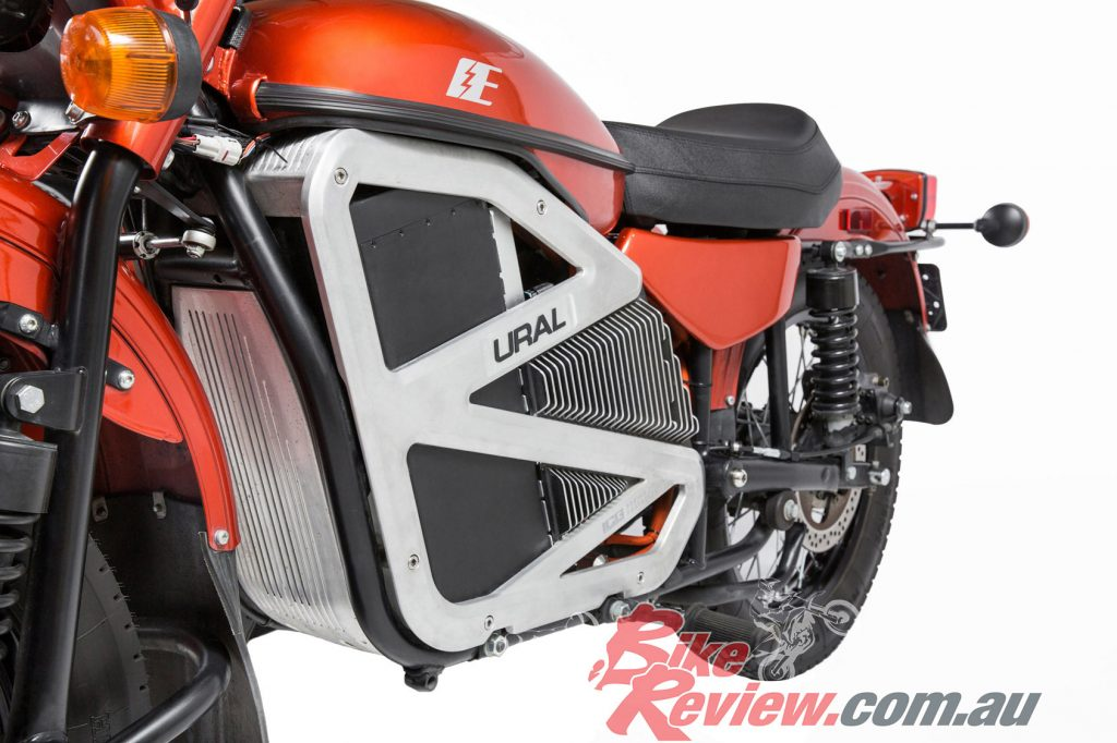 The powertrain in the Ural electric prototype is sourced from Zero Motorcycles.