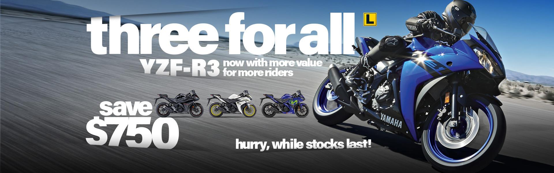 2018 Yamaha YZF-R3 run out deals