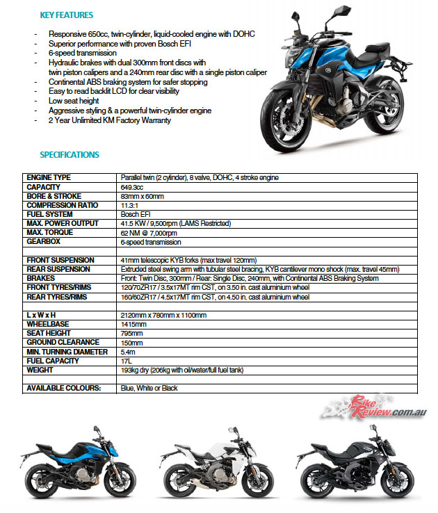 CFMoto's 650NK Specifications