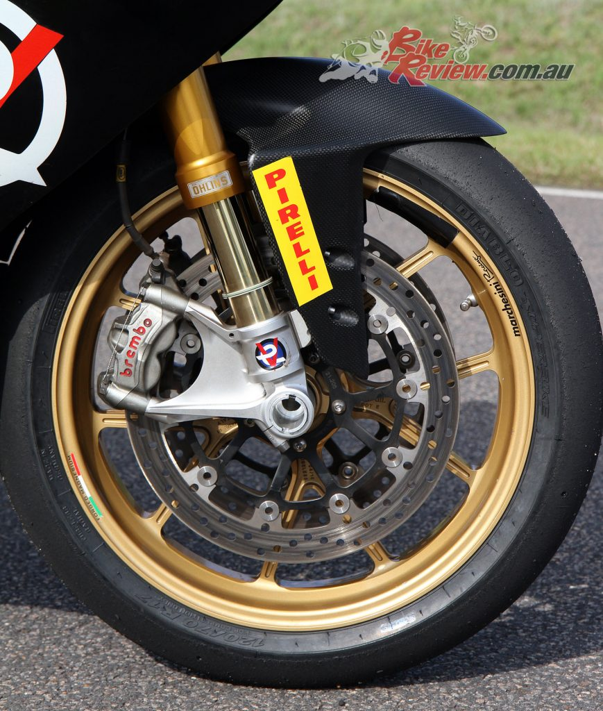 Ohlins forks and Marchesini wheels. The Panigale brakes are off the planet on this light bike!