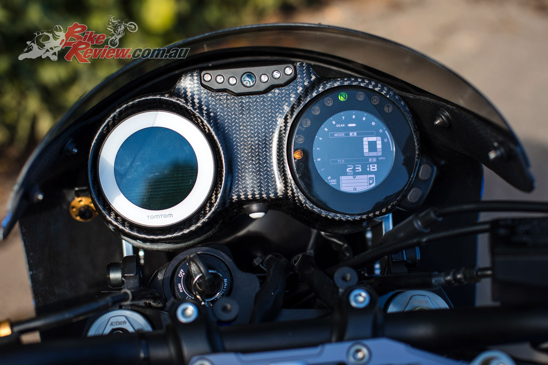 Dual clocks on the Moto Velocity use the stock XSR instruments and a TomTom GPS