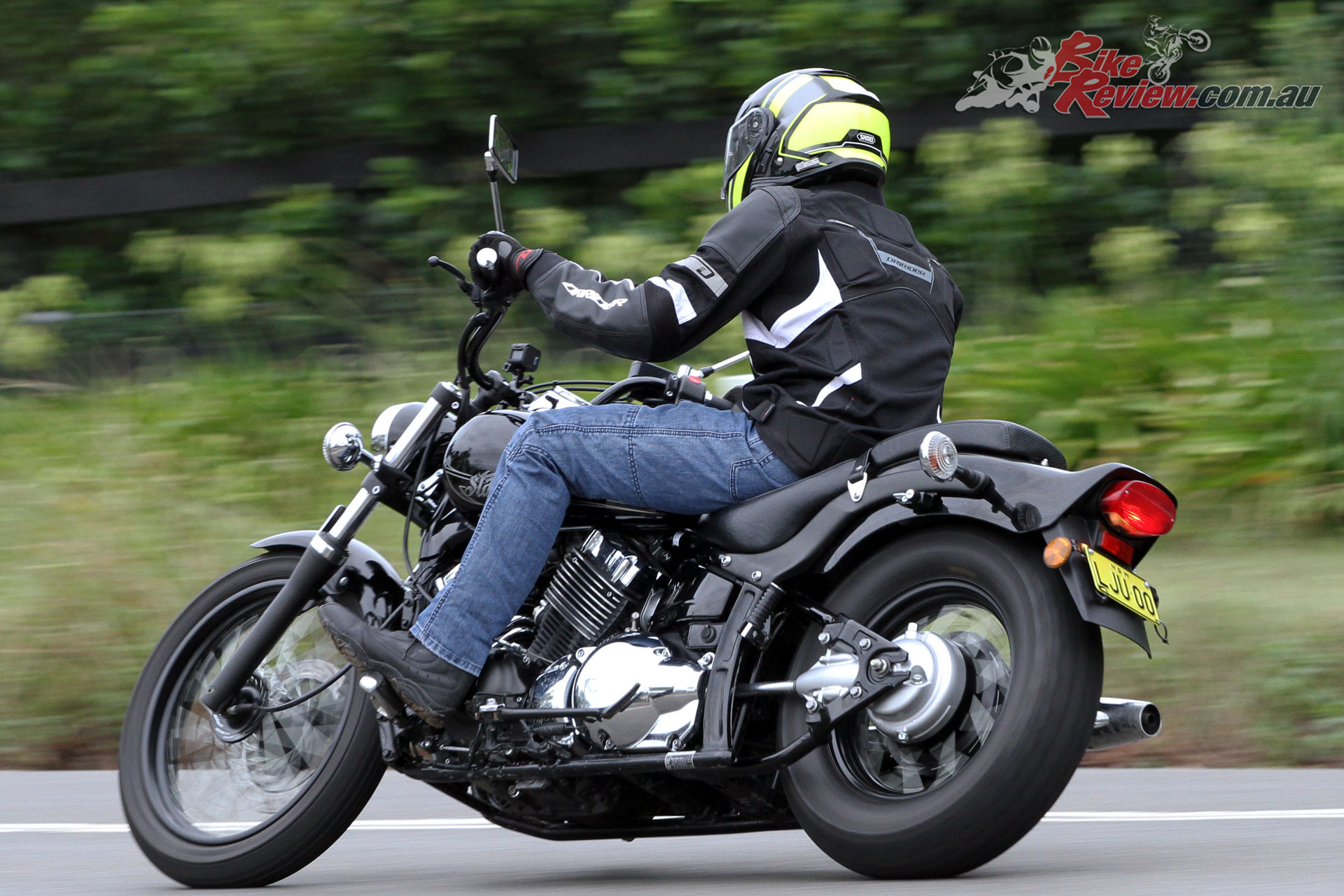 The V-Star 650 has strong torque from down low through the rev range and a five speed gearbox is mainly noticed on the freeway
