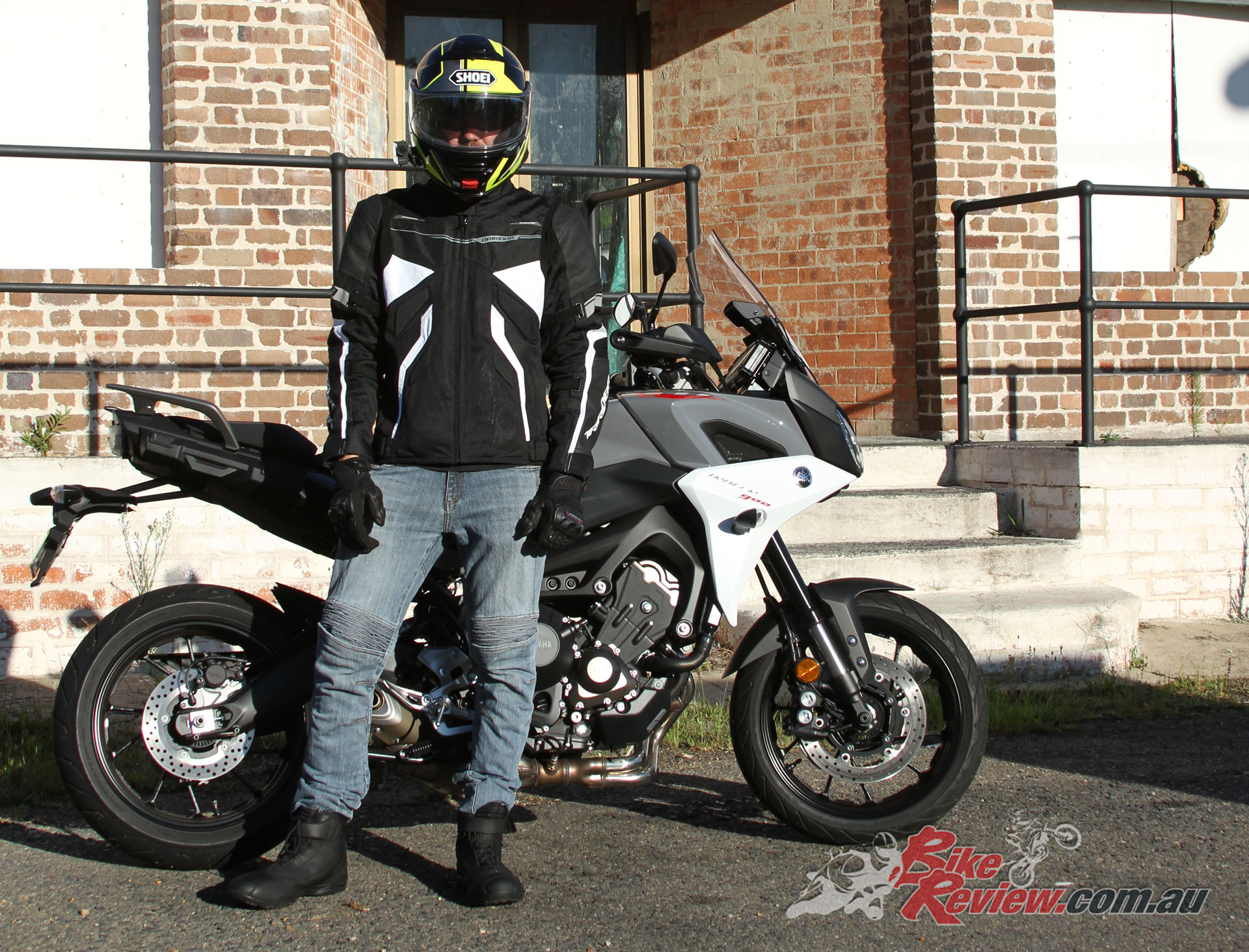 DRIRIDER Street 2.0 Boots, Climate Control EXO 2 Jacket, Strike Gloves, Rapid Jeans and Shoei Neotec II Helmet