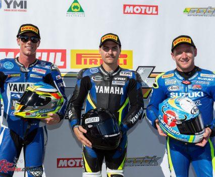 ASBK Superbikes Race 2 Podium at Phillip Island - Image by TBG
