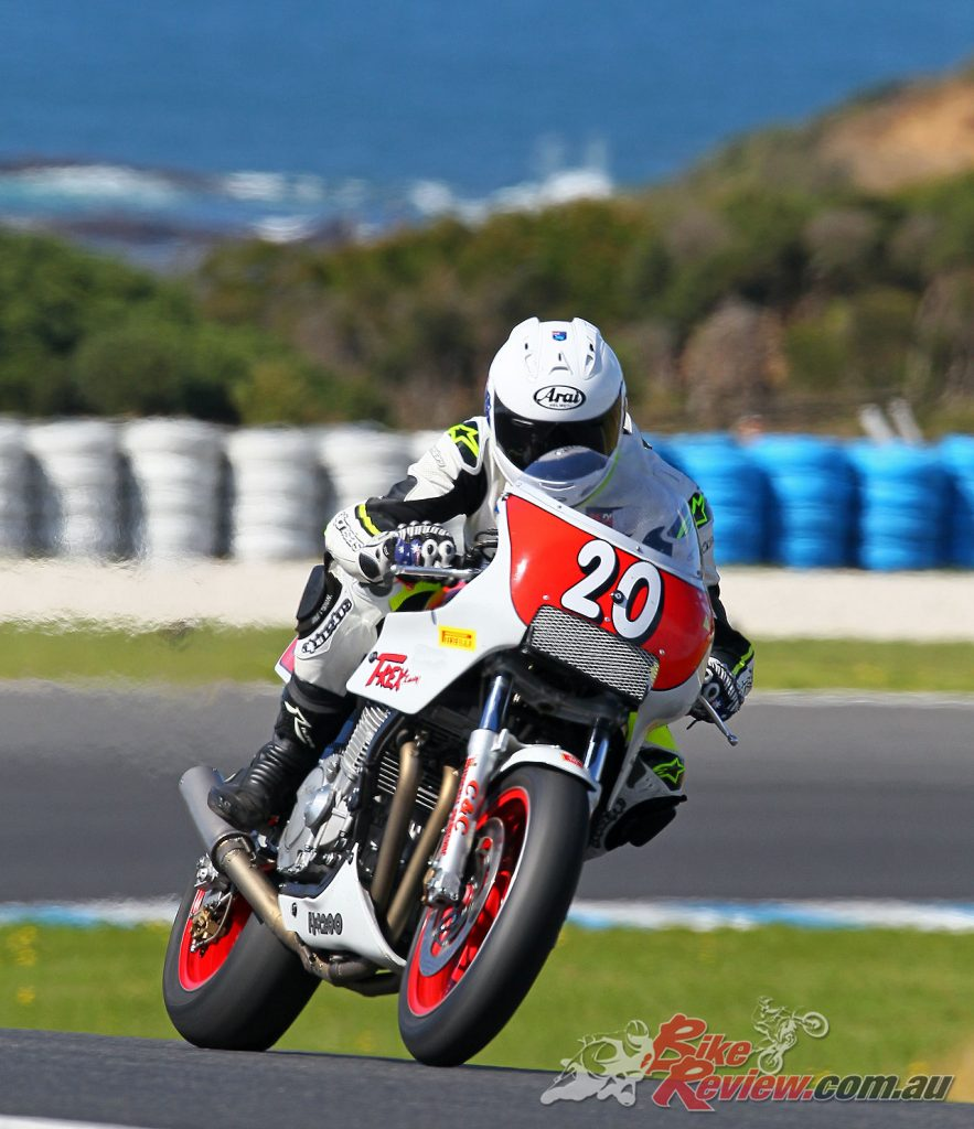 Jeff could not believe how good the T-Rex Racing FJ1200 was around the fast and flowing Phillip Island circuit.