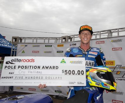 Cru Halliday claims the 2019 season's first Elite Roads Pole Position Award in the Kawasaki Superbike class - Image by TBG Sport