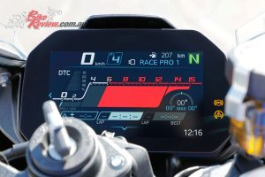 The dash is the best in the game, large, easy to read and navigate even at racetrack speeds. Brilliant.