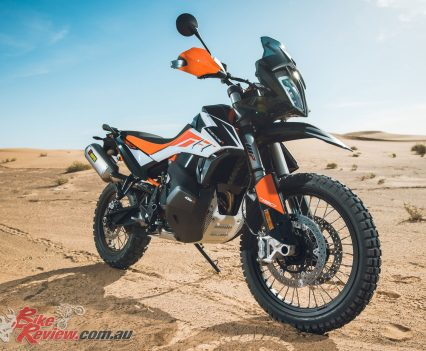 The 790 Adventure R also comes with the bash plate standard