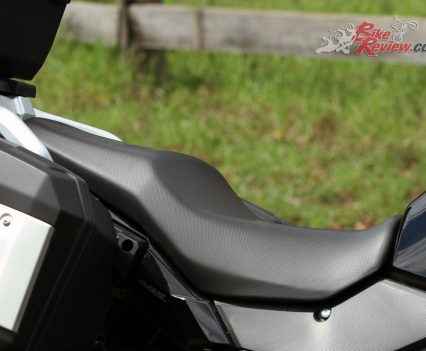 A large comfortable seat doesn't negatively effect seat height on the V-Strom 250