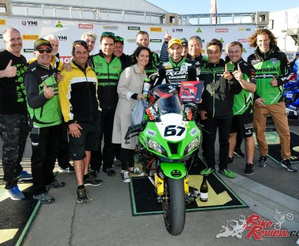 Bryan Staring and the BCPerformance Kawasaki team celebrate - Image by Foremost Media