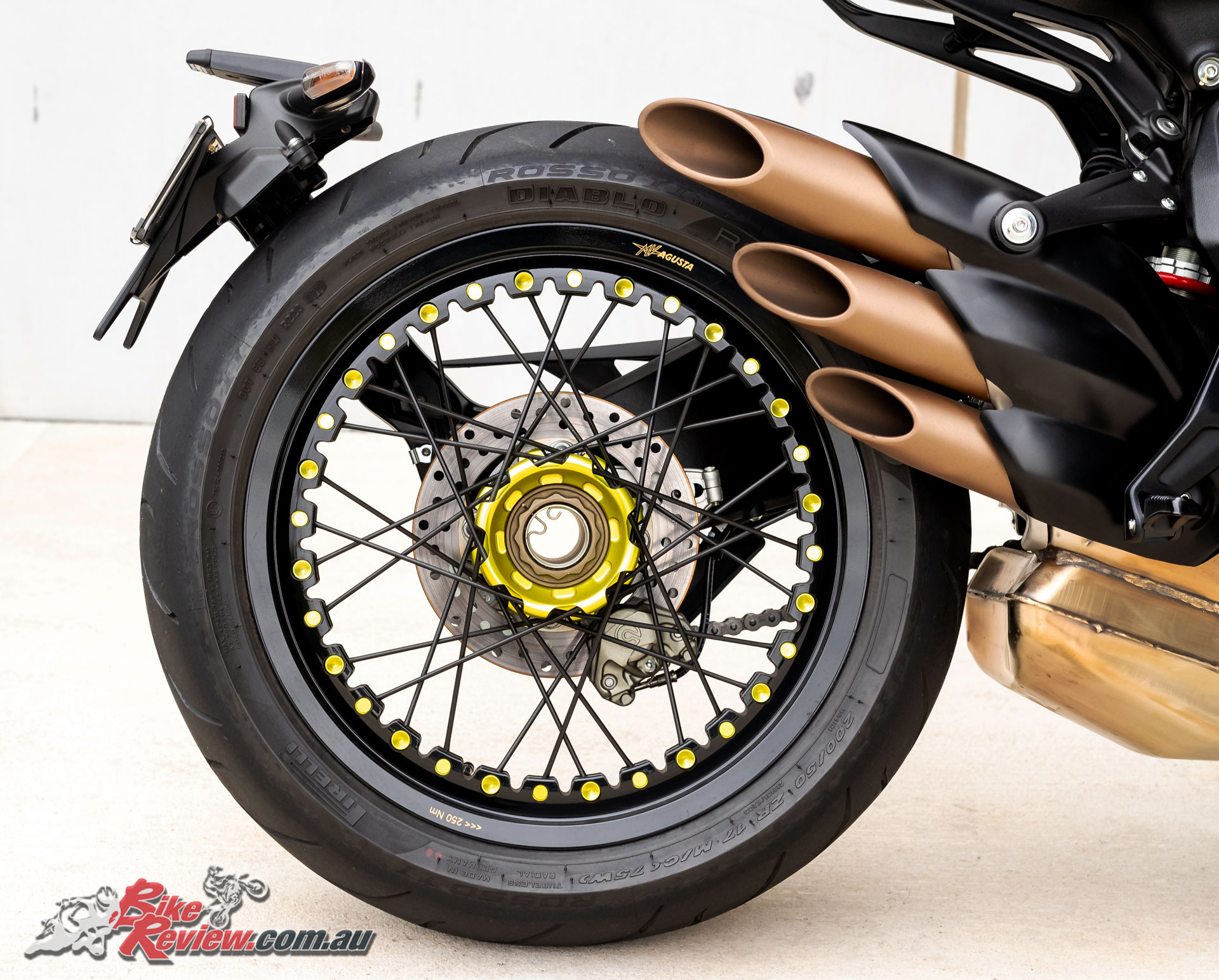A noticeable difference between the Brutale and Dragster models is that 200-section spoked rear wheel