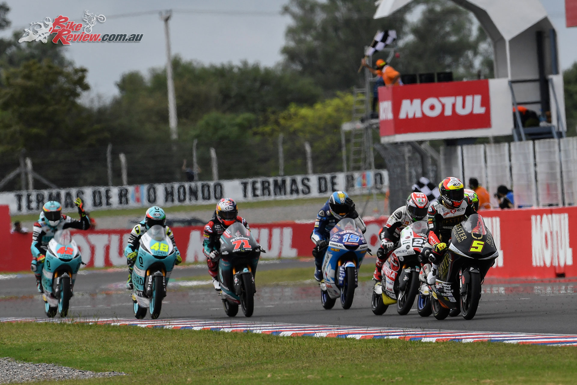 Jaume Masia leads the Moto3 pack