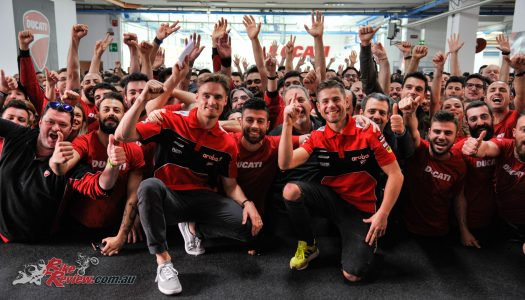 Bautista & Davies celebrate Ducati's 350 WSBK wins
