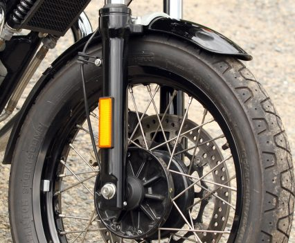2019 Royal Enfield Continental GT 650 spoked front wheel, single rotor and Bybre caliper