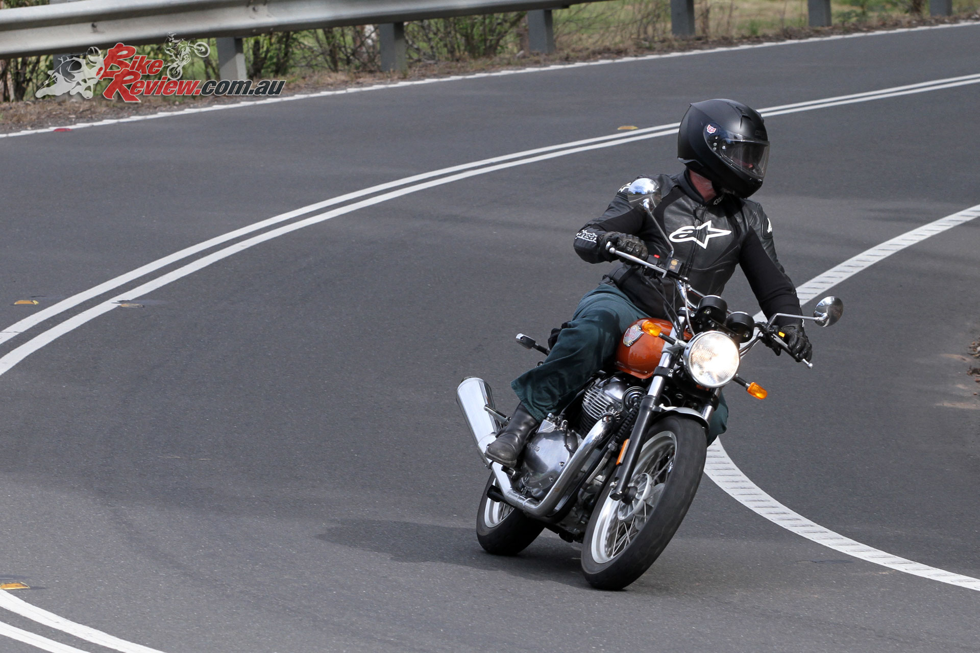 Sean testing Jeff's Interceptor 650
