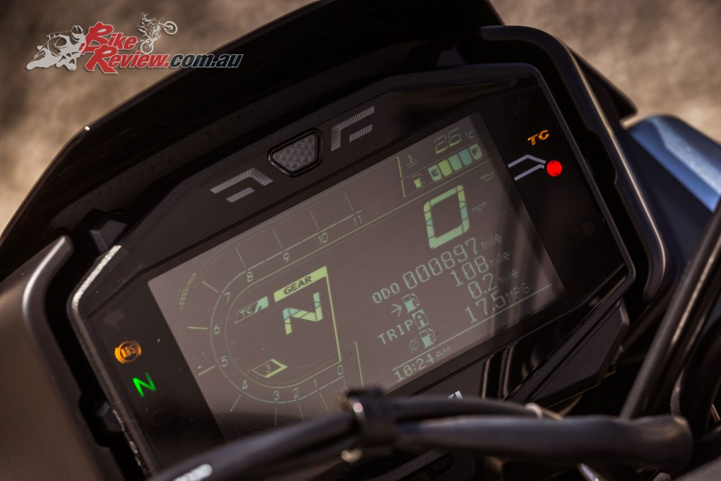 There's the same electronic package on the GSX-S1000 but no IMU