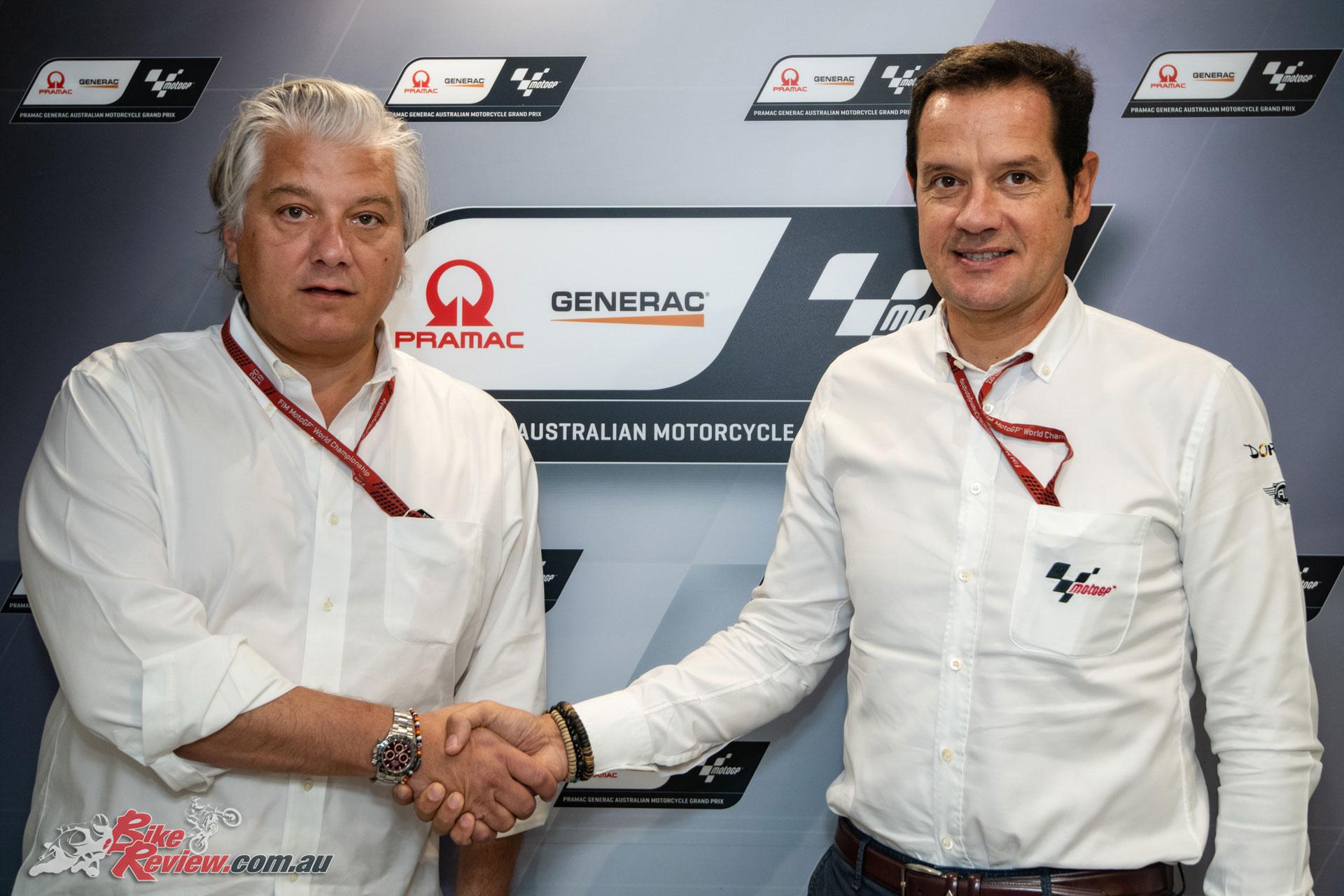 Paolo Campinoti, Pramac CEO, Generac Executive Vice President Row (L) and Pau Serracanta, Managing Director at Dorna Sports
