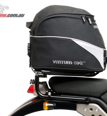 The Royal Enfield Himalayan fitted with the Ventura EVO-22 rack and bag