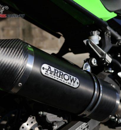 Arrow Race Tech Dark Aluminium slip-on exhaust on our Project Ninja 400