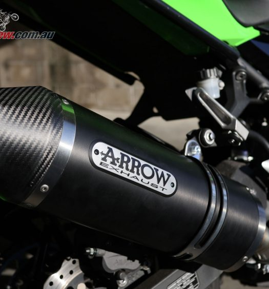 Arrow Race Tech Dark Aluminium slip-on exhaust on our Project Ninja 400