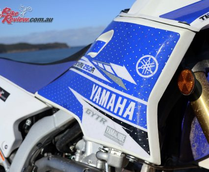 A Safari tank for additional fuel capacity and range on the WR250R