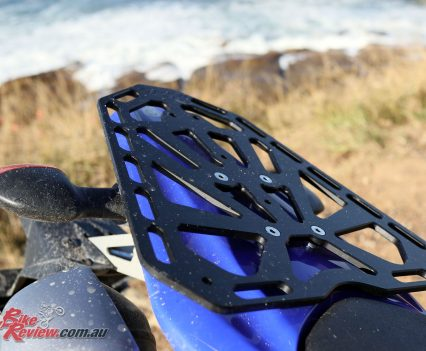 The Scaggs rear rack, ideal for mounting luggage to the WR250R