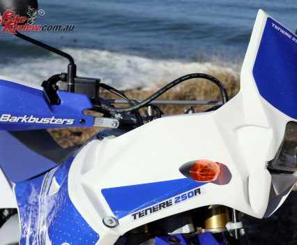 The WR250R fairing offers a fair bit more wind protection