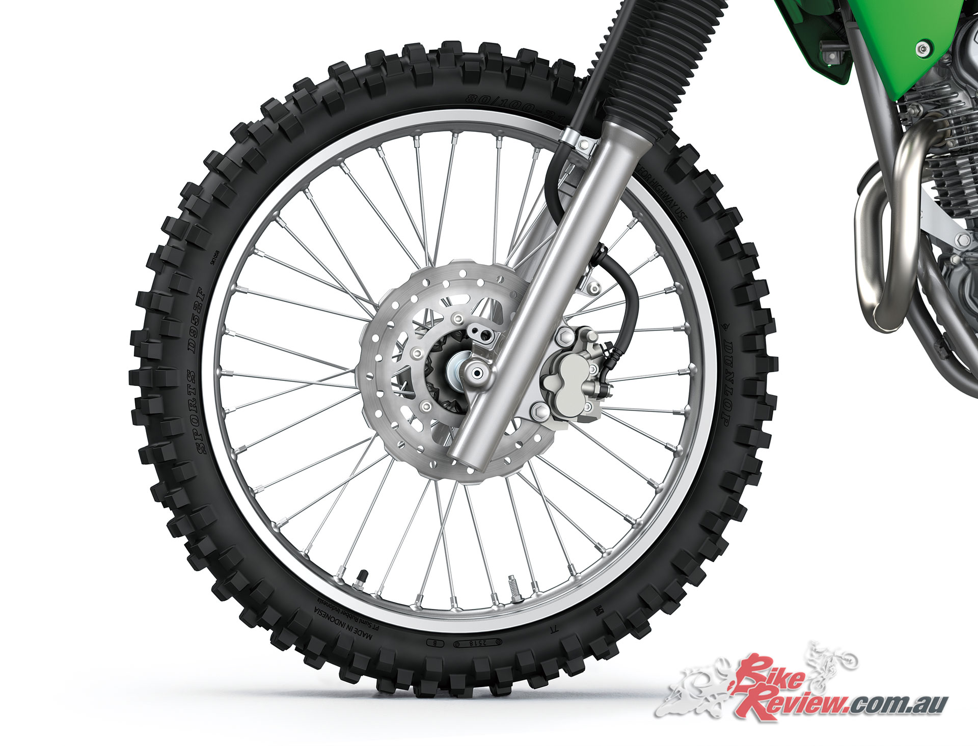 2020 Kawasaki KLX230R 21in front wheel with 240mm single rotor and dual piston caliper