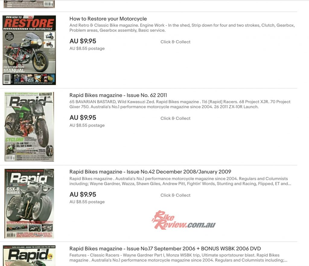 eBay-store-BikeReview-RPMMagazines-List - Bike Review