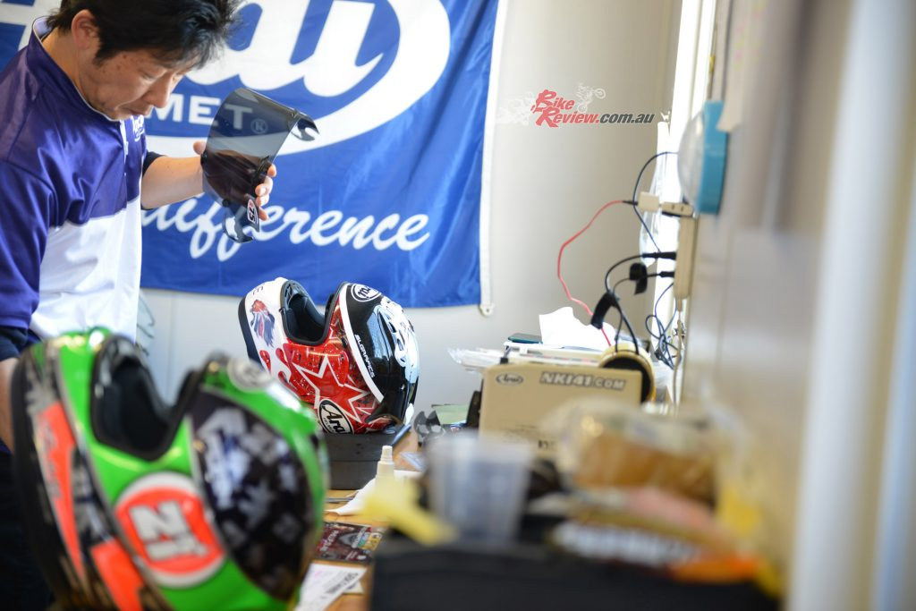 Arai's Kenji Endoh travals to all WorldSBK and MotoGP rounds to service the helmets of Arai riders. Amazing stuff...
