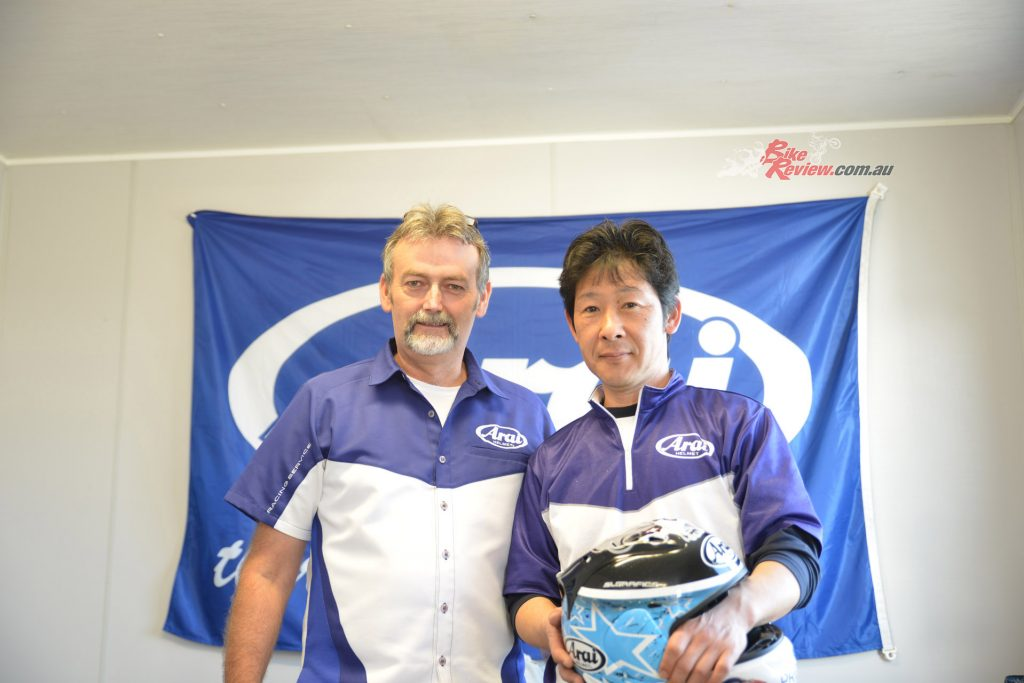 Marcus Holt and Kenji Endoh in the Arai Race Service Centre.