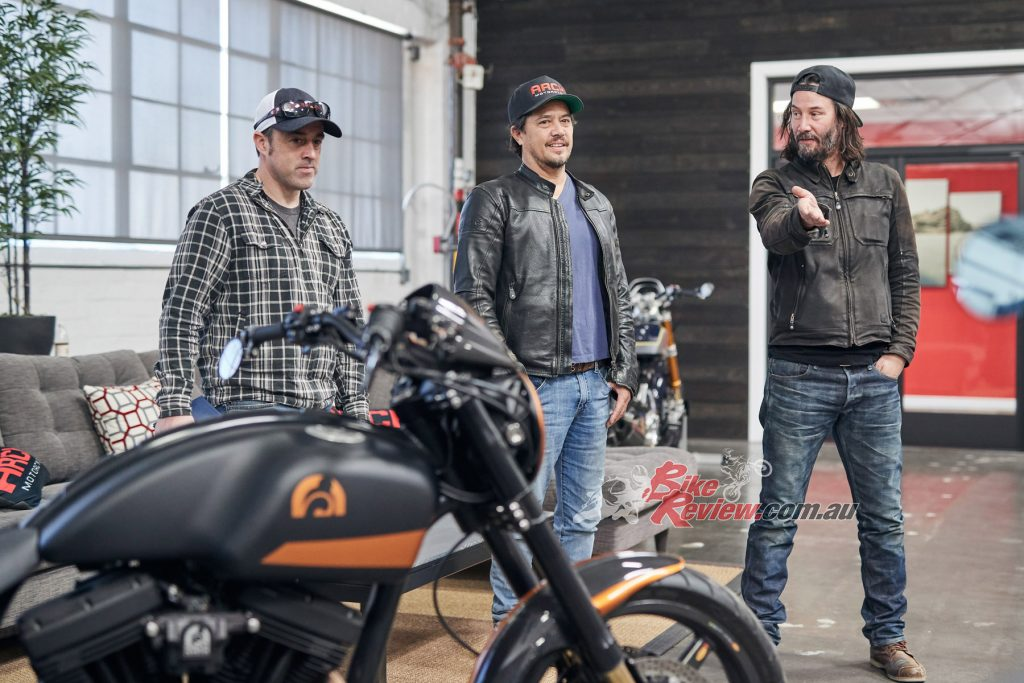 Chad (Left) with Hollinger and Reeves. Keanu has completed over 80,000km in development riding for ARCH. Not just a pretty face...